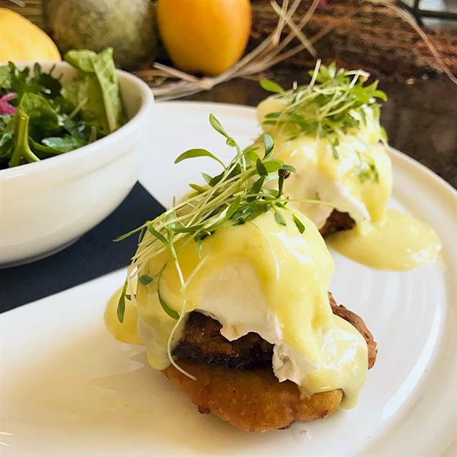 Localis' take on Eggs Benedict using Poached Farm Eggs, Chorizo, Masa Fritter and Jalapeño Hollandaise.
