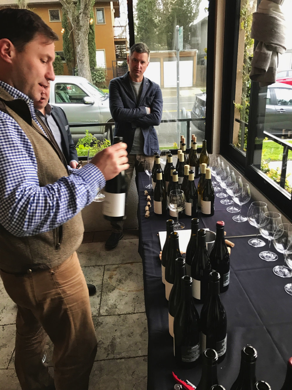 Arista Owner Mark Mark McWilliams and winemaker Matt Courtney setting up