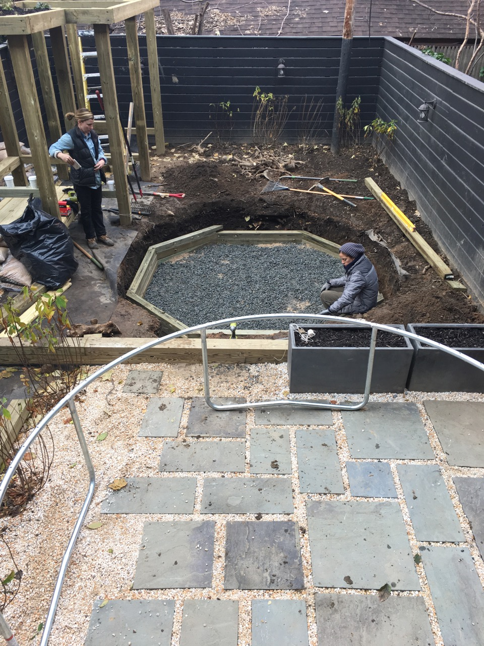 Installation of the sunken trampoline, at grade level