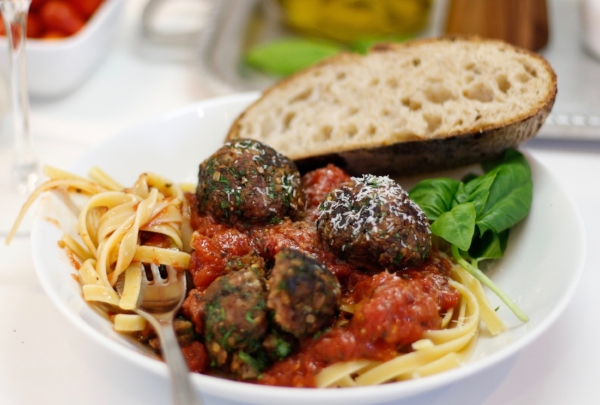 Vegan Hot Italian Sausage Meatballs