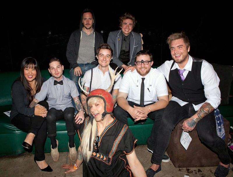 "A Million Pieces backstage at The Key Club. Pictured L-R: front row, Maxi Maxi (hair & make-up artist); Middle row, Helen Yu, Esq.(Manager); Morgan Freed (lead singer); Jerrod ""Skins"" Bettis (producer); Stephen Ross (keyboards/assorted instruments); Peter Vanderloos (guitarist); Noel Zancanella (producer, friend of A Million Pieces) and Ryan Brown (bassist)."