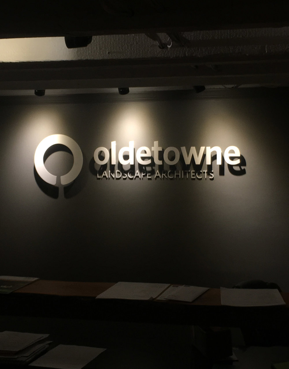 Custom metal 3D sign for Oldetowne Lanscape Architects