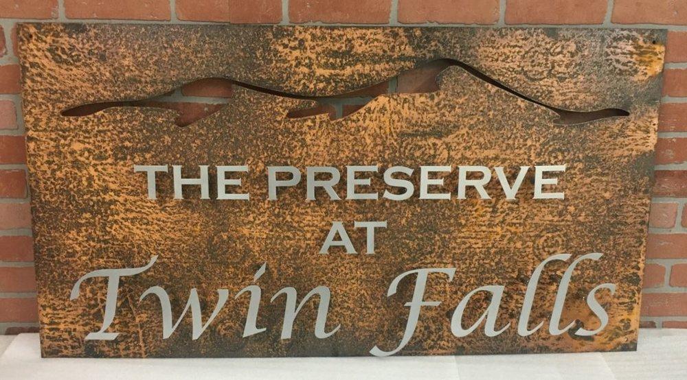 Preserve at Twin Falls - Custom Metal Sign.JPG