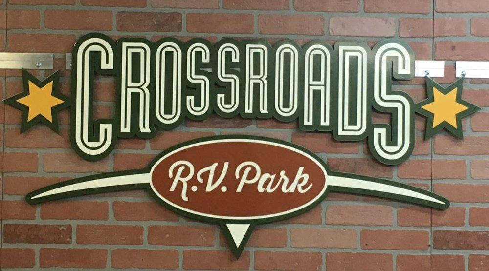 Crossroads RV Park - Custom Metal Sign.JPG