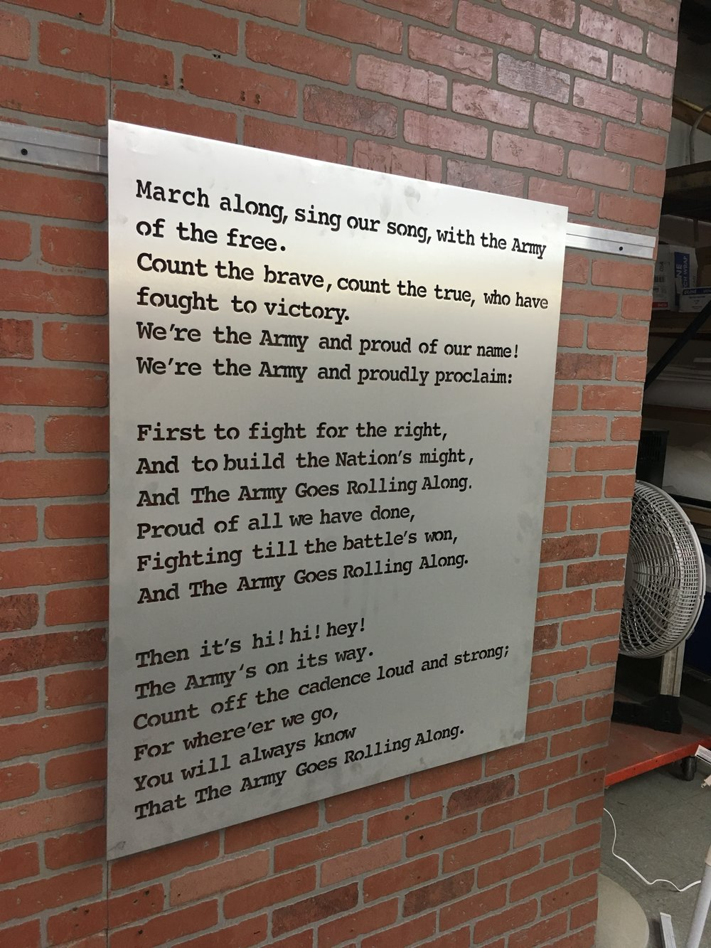 Custom Metal Sign-Army Fight Song.JPG