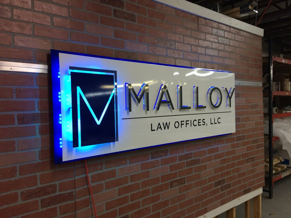 Custom Metal Sign- Malloy Law- Left-lit.JPG