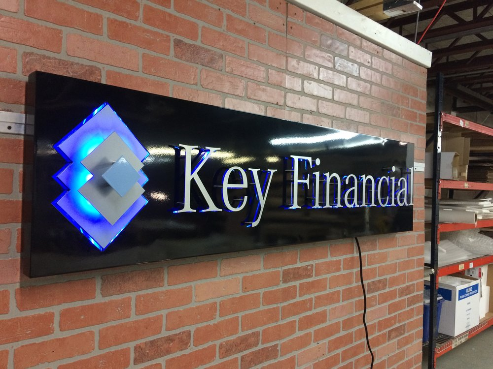 Custom Metal Sign-Key Financial Group-left-lit.JPG