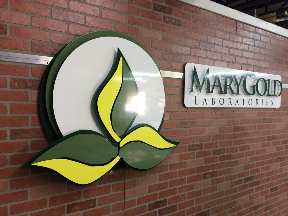 Custom Metal Sign-MaryGold Lab Both-left.JPG