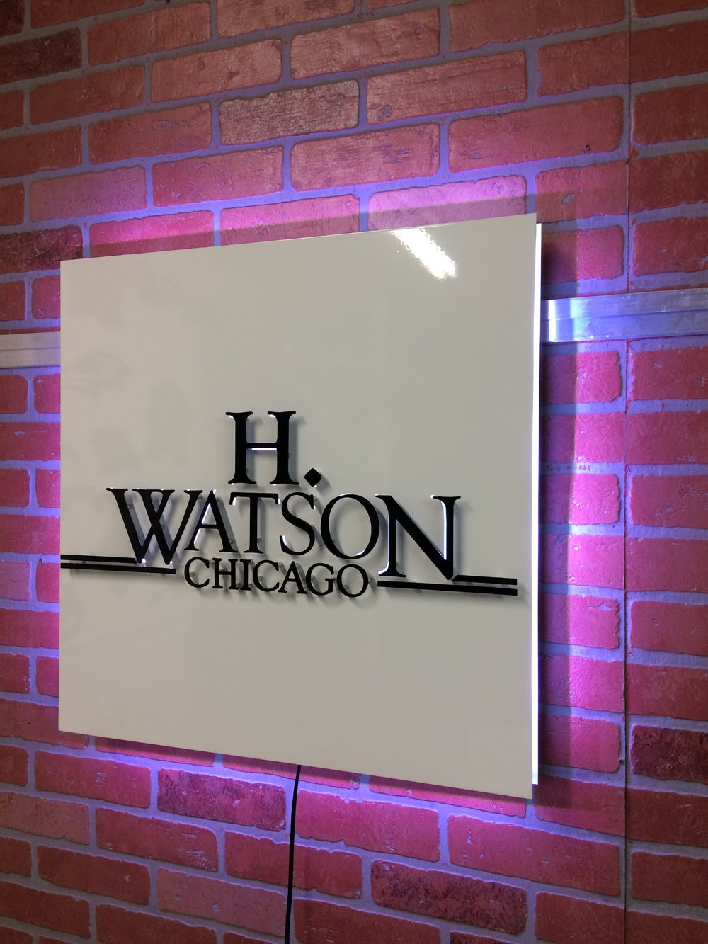 Custom Metal Sign-H. Watson Jewelry-right-lit lights on.JPG
