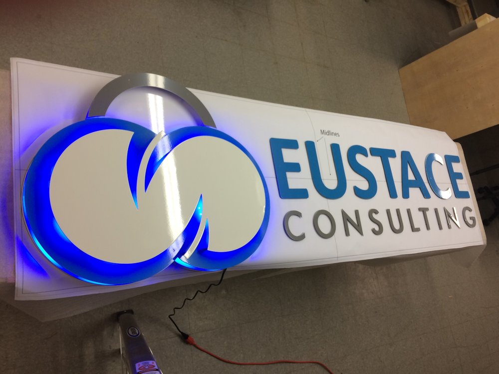 Custom Metal Sign-Eustace Consulting-left-lit.JPG