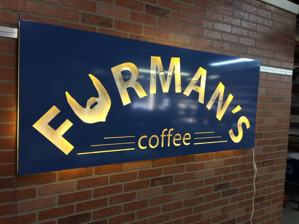 Custom Metal Sign-Furman's Coffee-left lit.JPG