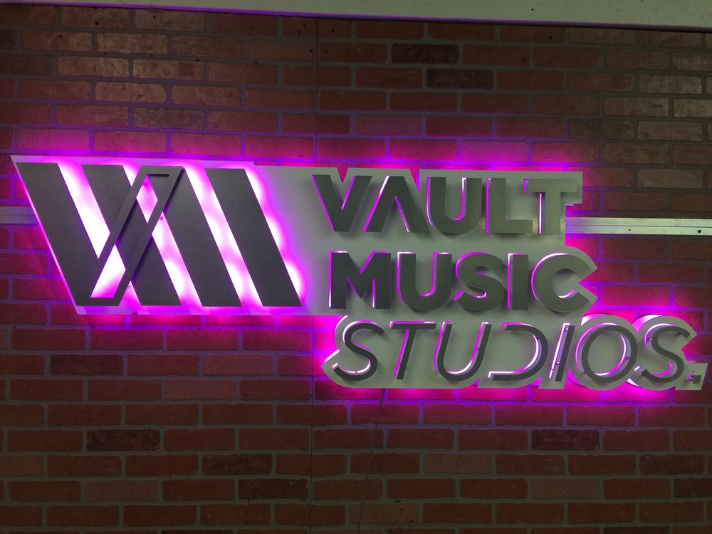 Custom Metal Sign - Vault Music Studios -  Front - Purple.JPG
