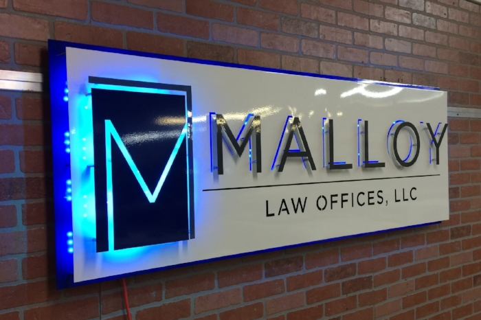 LED lighting was added behind the front layer of the sign to give the acrylic letters a great glow!