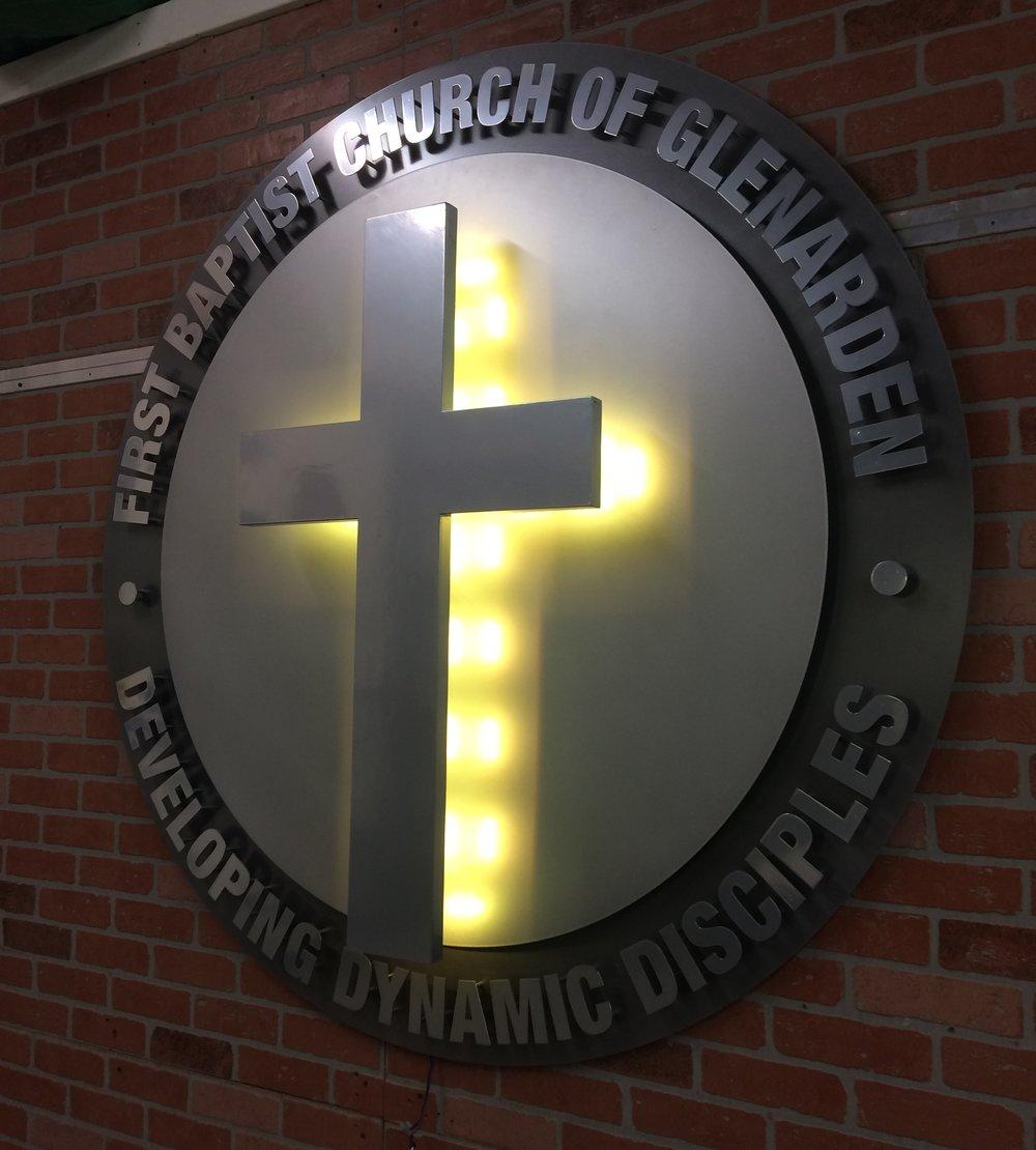 Custom Metal Sign-First Baptist Church of Glenarden-right lit.JPG