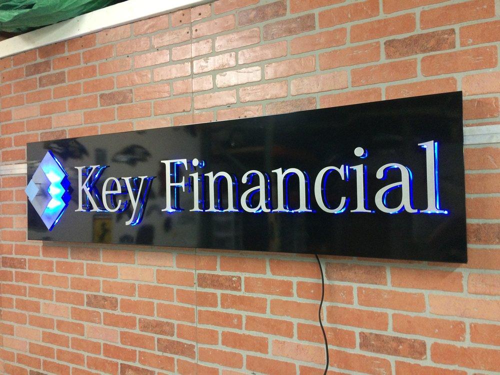 Custom Metal Sign-Key Financial Group-right-lit.JPG