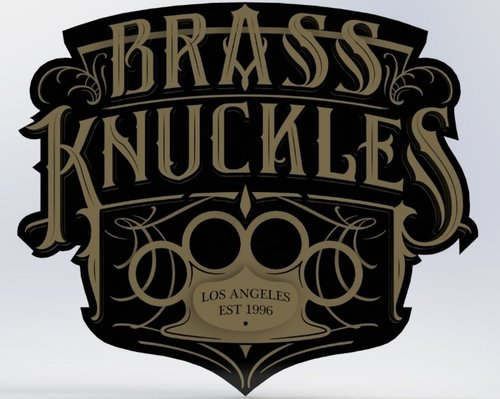 Solidworks 3D Mockup of the Brass Knuckles Sign