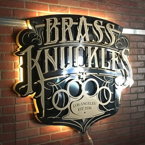 Brass Knuckles Sign without Sloan Neon LED Backlighting
