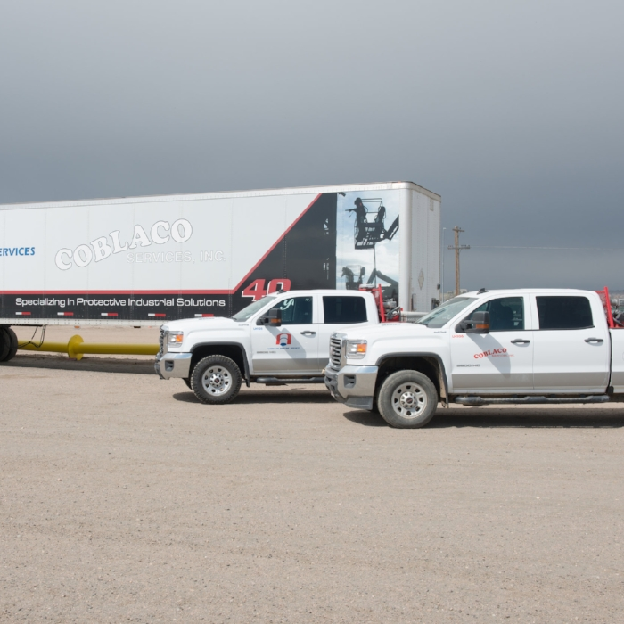Ability to Mobilize - An extensive fleet of vehicles, including blast trucks, compressors, generators, grout trailers and paint trucks, equipped with the latest high performance plural application equipment, allows Coblaco Services to mobilize crews and equipment to most any location within the United States.