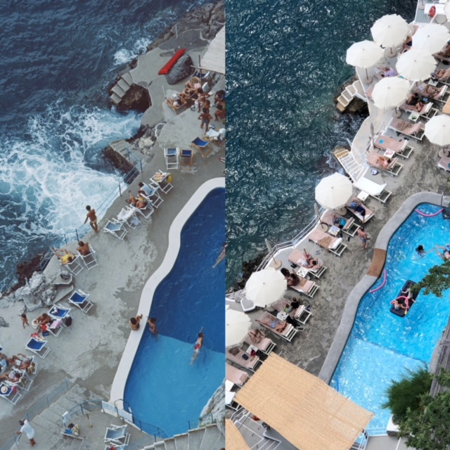 Slim's photo on the left from his book Poolside, how it is now on the right, not always with the lilo in it??
