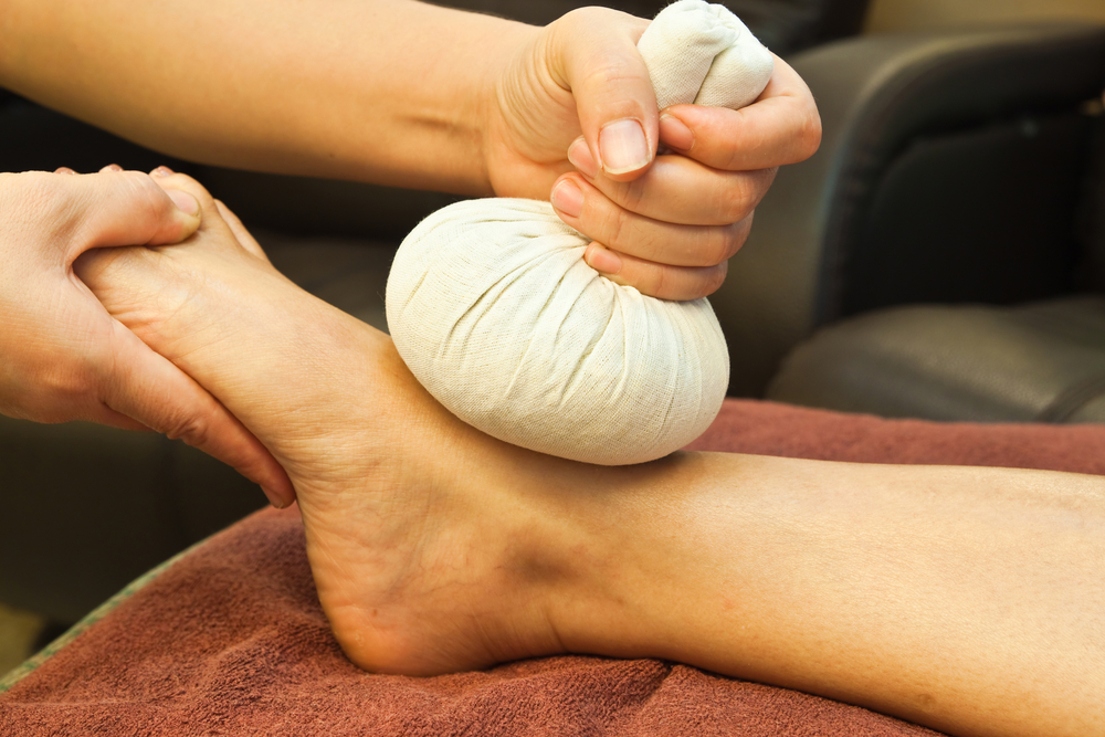 Thai compresses used to soothe and relax tired muscles.