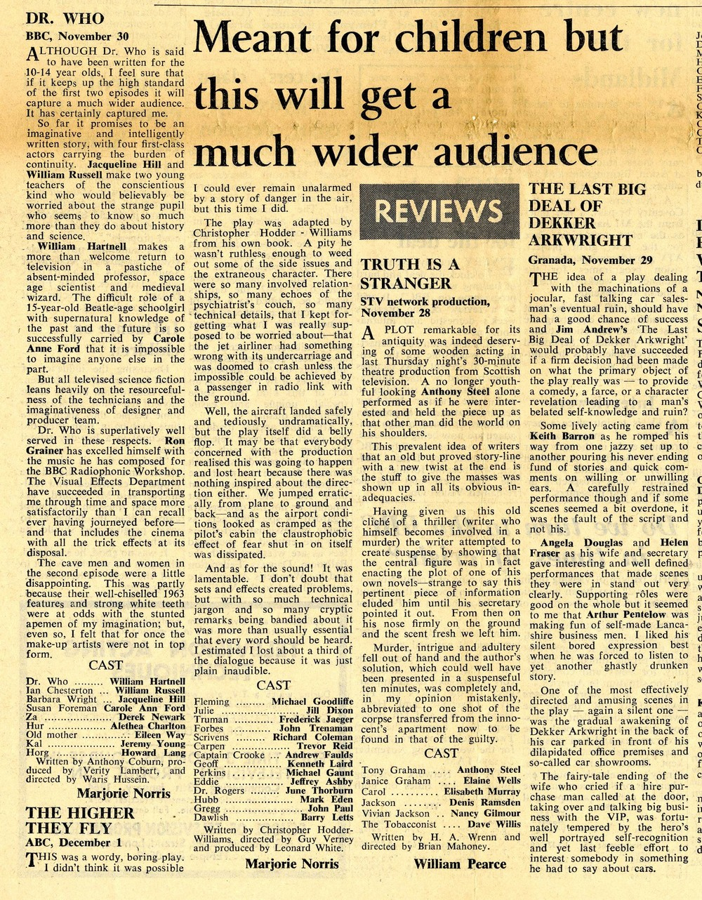 Early episode review in Stage and Television Today, 5 December 1963