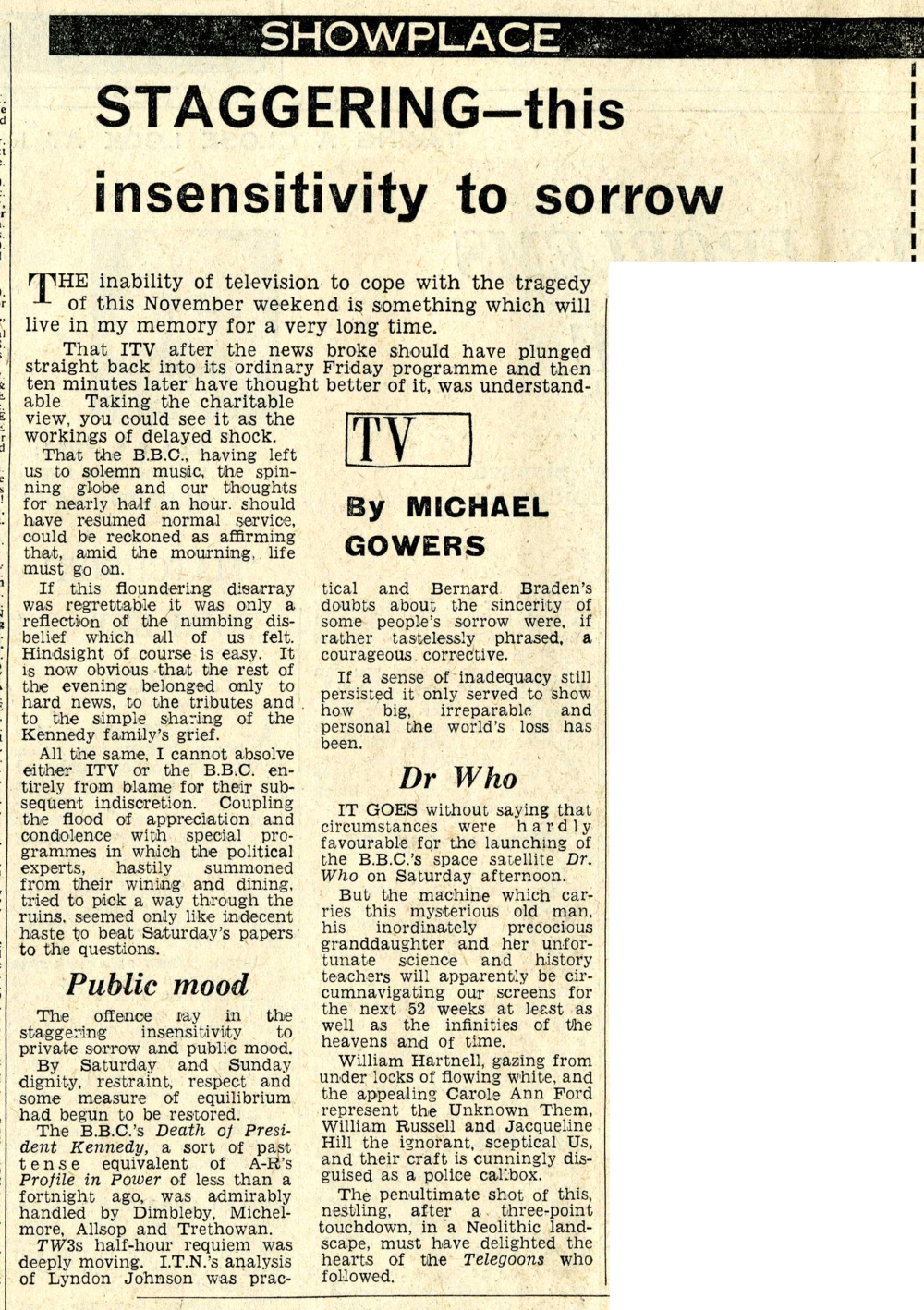 Review of An Unearthly Child, Daily Mail, 25 November 1963