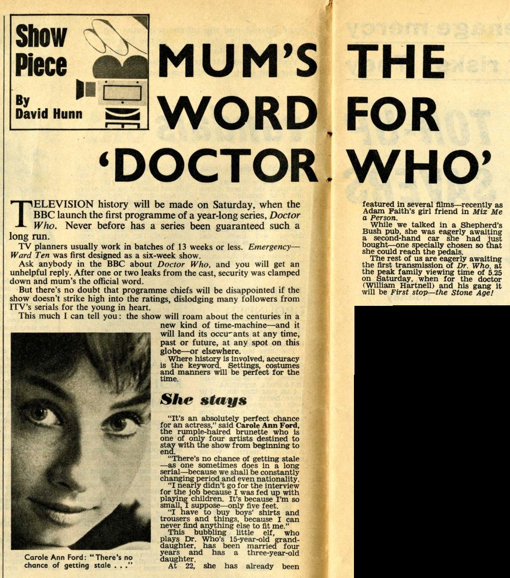 Pre-broadcast media coverage in Titbits, week ending 23 November 1963