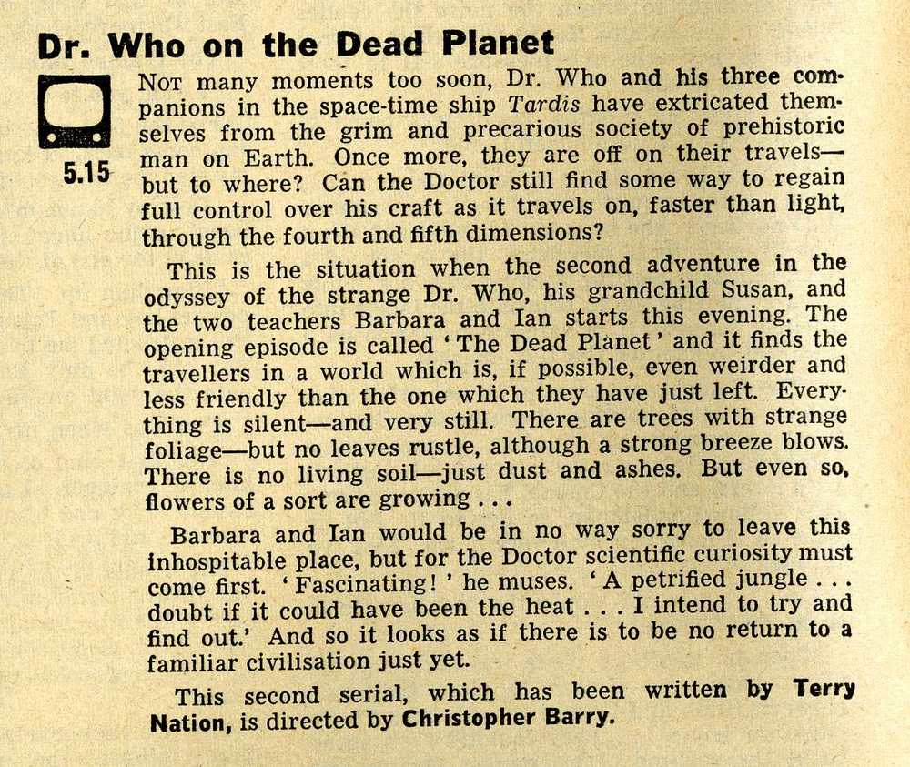 Radio Times, 21-27 December 1963, with short article introducing The Dead Planet episode of the first Dalek story