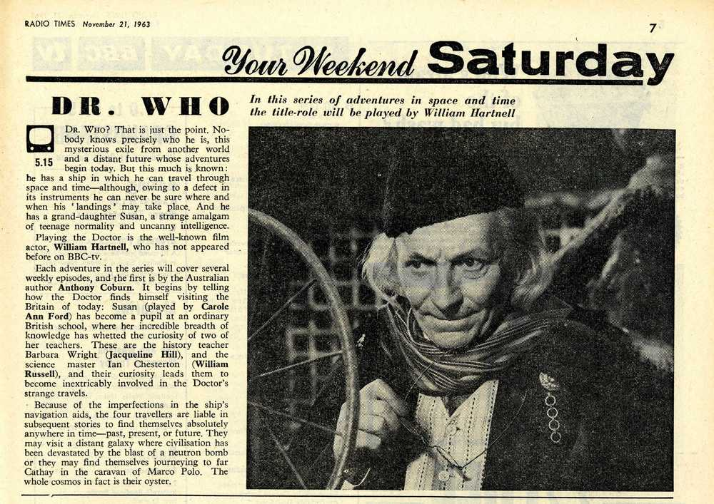 Radio Times, 23-29 November 1963, with article on first episode