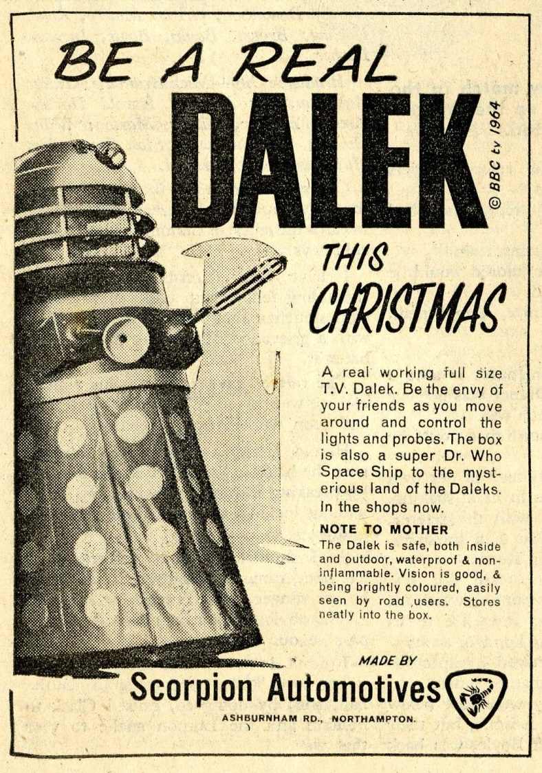 Scorpion Automotives Ltd. Dalek Playsuit print ad. in Rover & Wizard, 12 December 1964