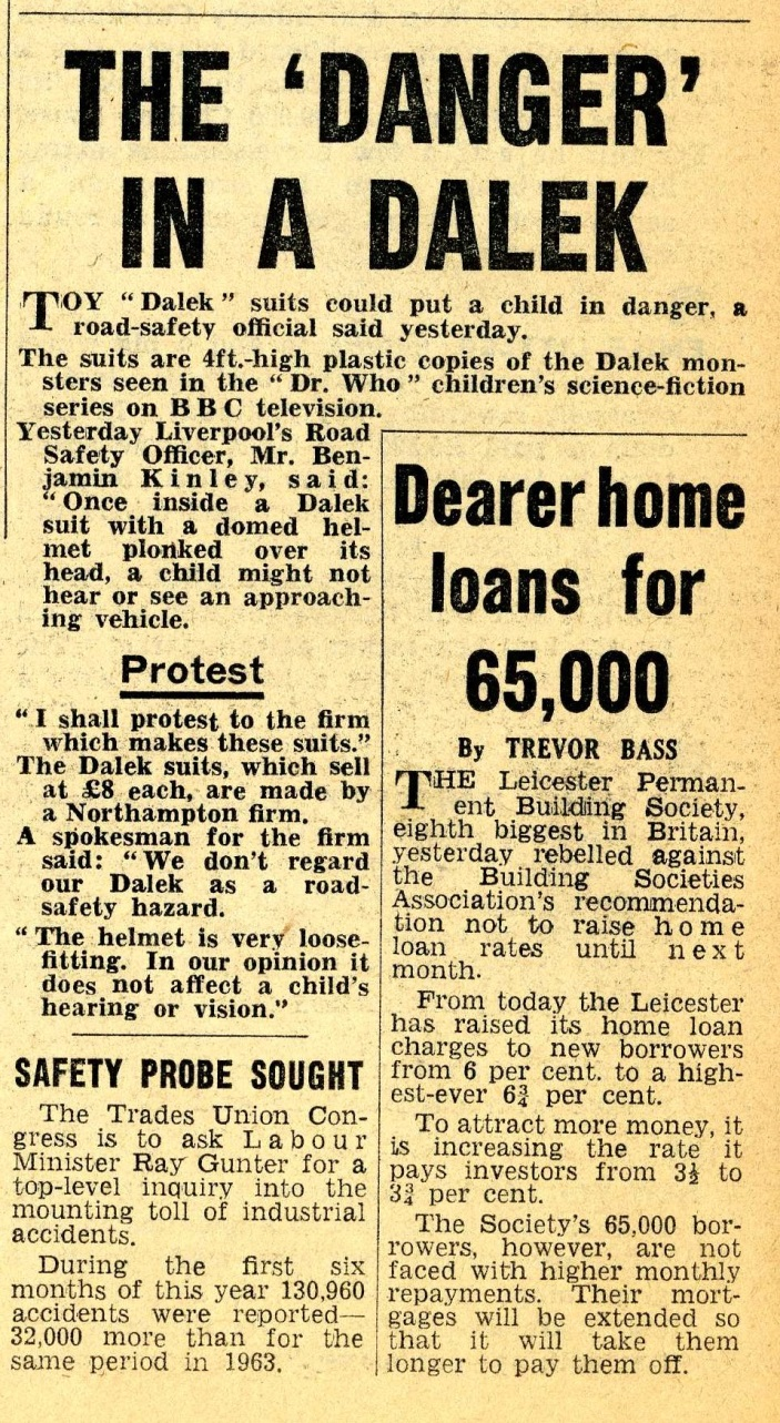 Scorpion Automotives Ltd. Dalek Playsuit article in Daily Mirror, 17 December 1964
