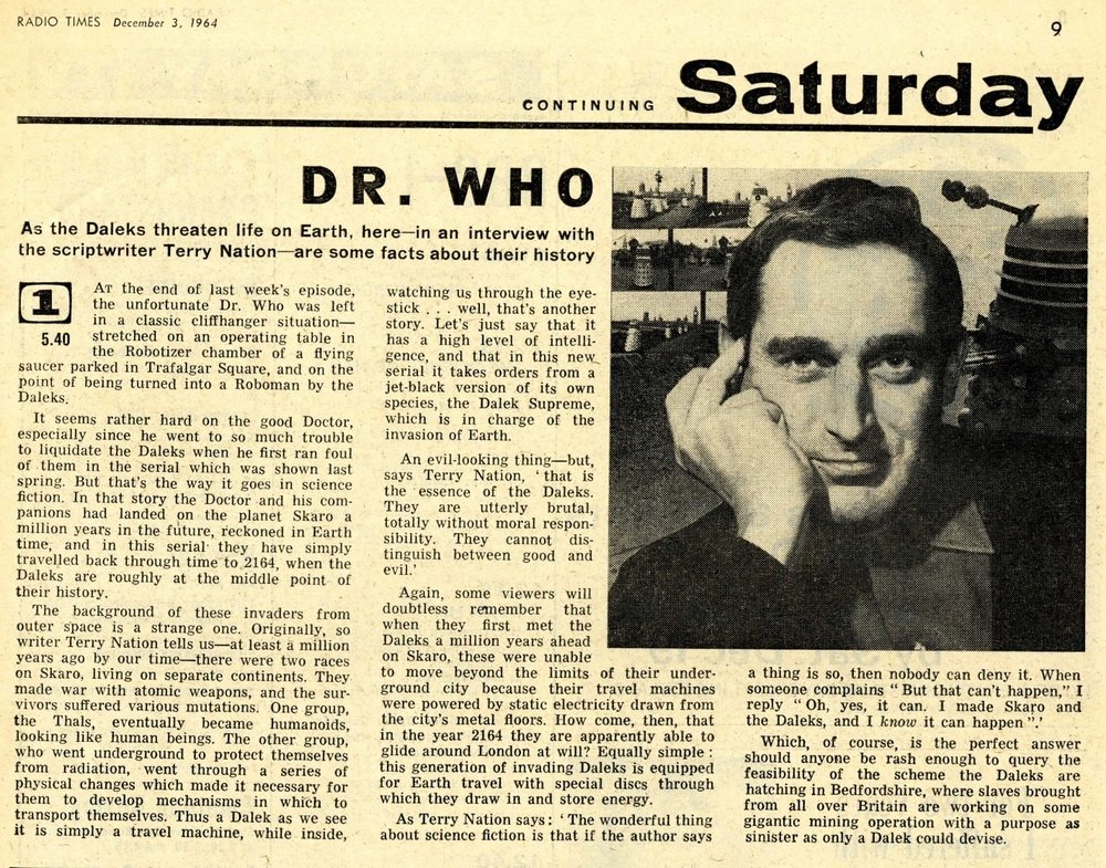 Radio Times. Terry Nation interview, 5-11 December 1964
