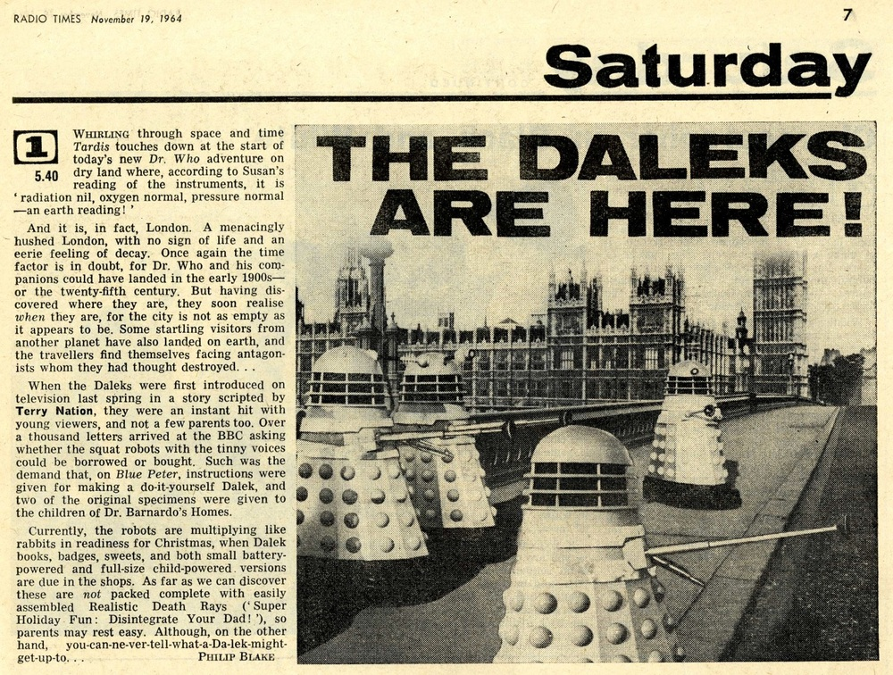 Radio Times. The Dalek Invasion of Earth article, 21-27 November 1964