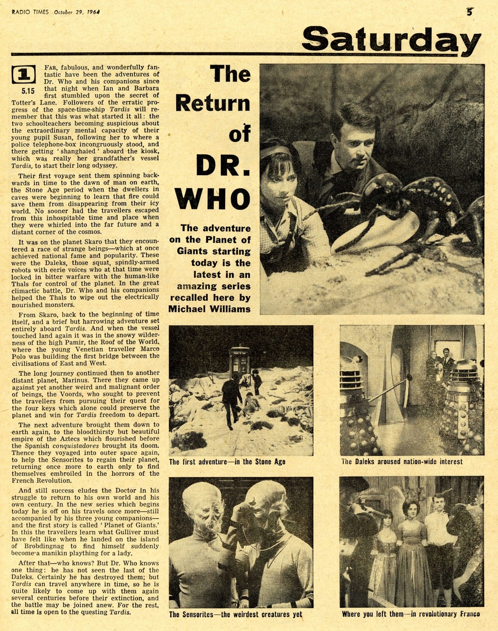 Radio Times. Article covering the start of Season 2 and Planet of Giants, 31 October - 6 November 1964
