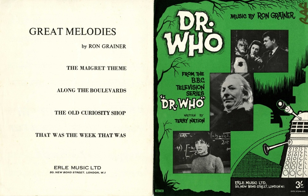 Sheet music of the Doctor Who theme tune arranged for piano. Published by Erle Music Ltd.