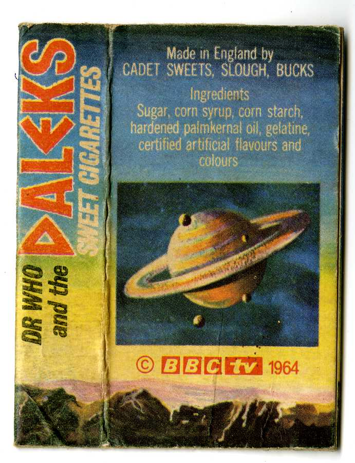Cadet Sweets, Dr. Who and the Daleks Sweet Cigarettes, variant box back
