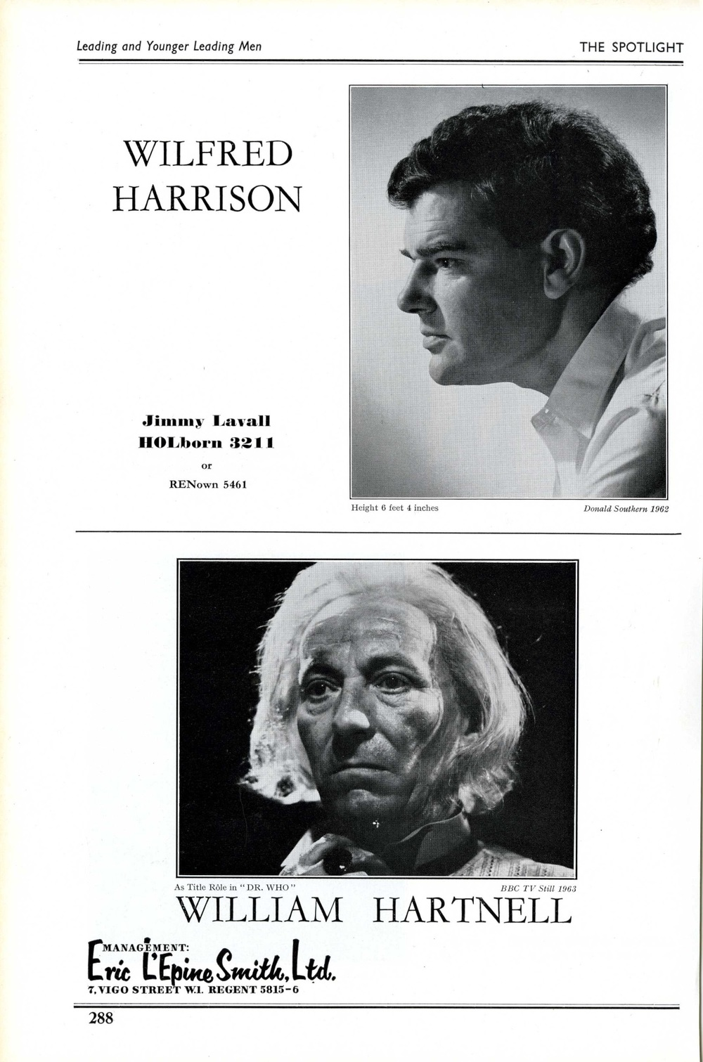 William Hartnell's 1964 entry in The Spotlight, the actors' directory