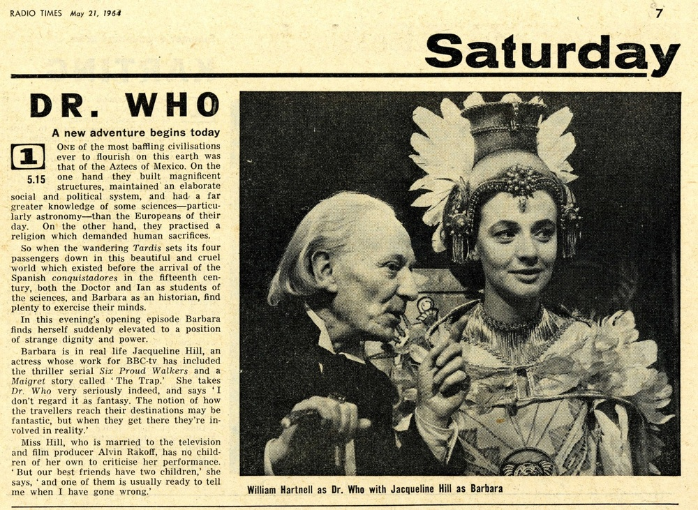 Radio Times. The Aztecs article, 23-29 May 1964