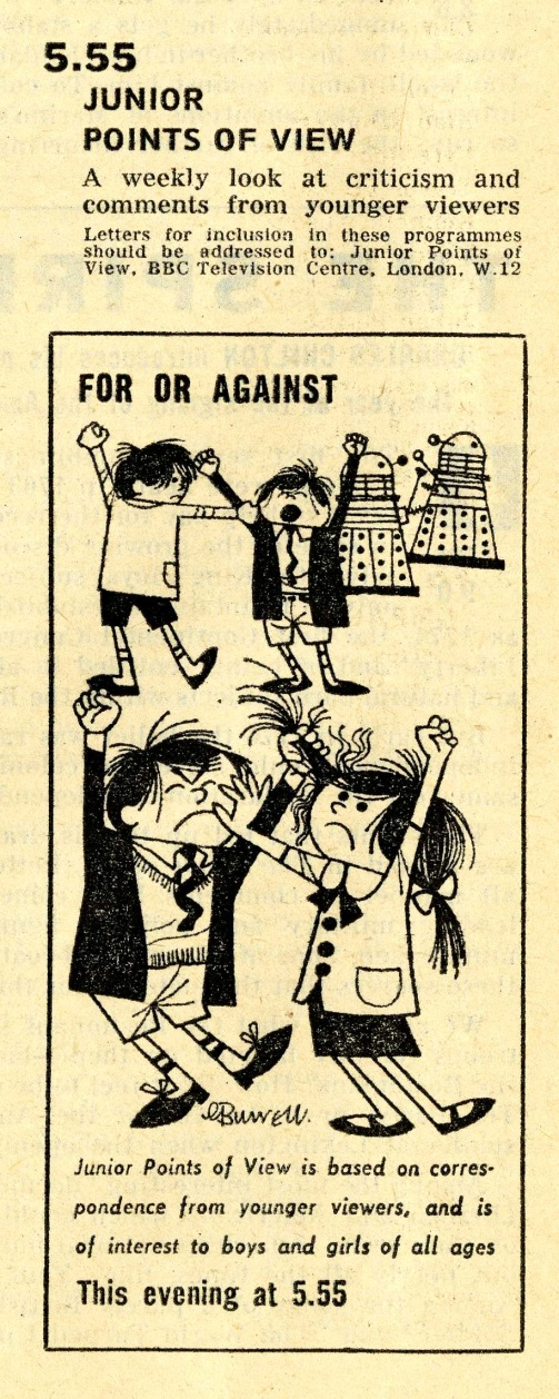 Radio Times. Junior Points of View listing with Daleks illustration, 22-29 February 1964