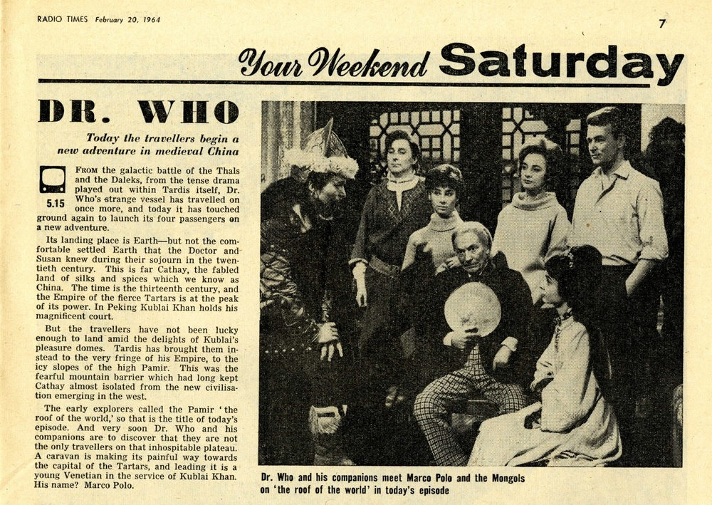 Radio Times. Marco Polo article, 22-29 February 1964