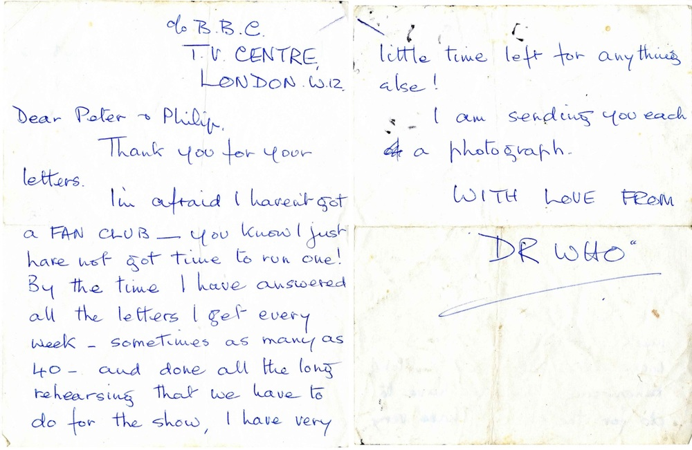 Two page reply to a fan letter from William Hartnell, most likely written by Hartnell's wife, Heather