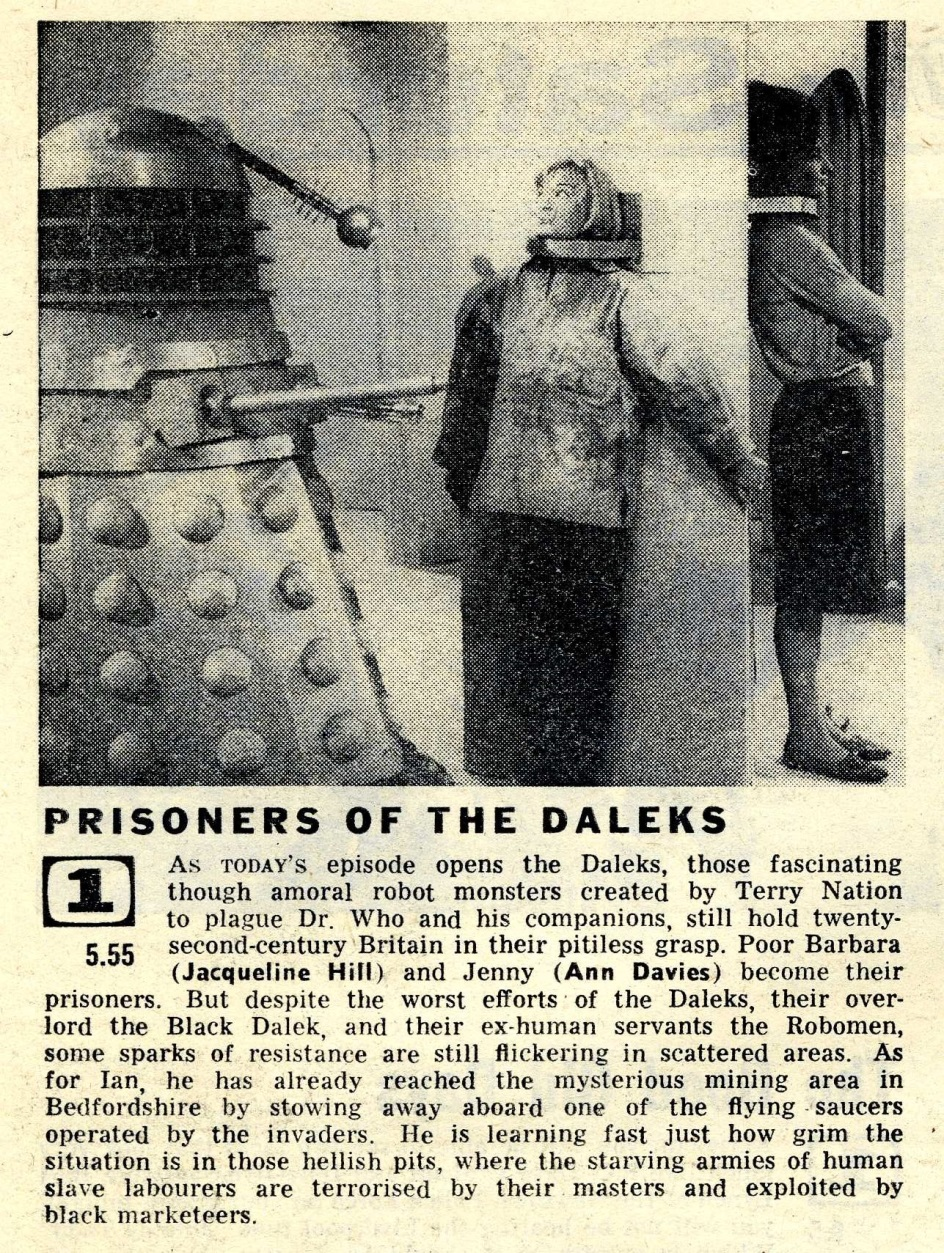 Radio Times. The Dalek Invasion of Earth article, 19-26 December 1964