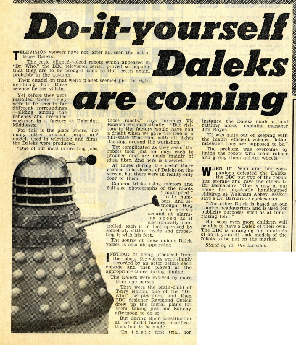 Reveille, 2-8 April. Article about the return of the Daleks. From the Ray Cusick cuttings collection
