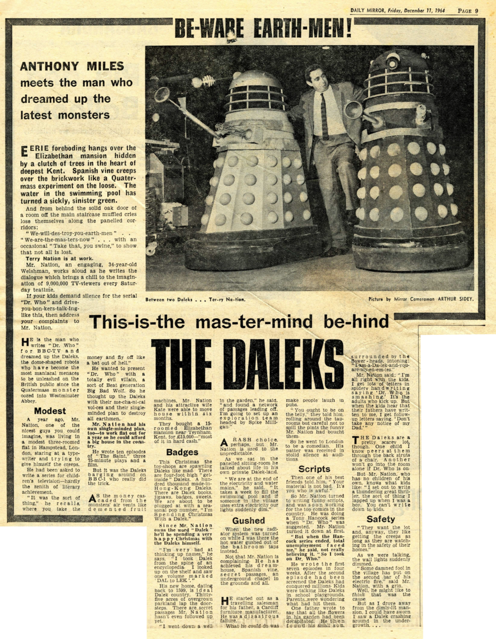 Daily Mirror, 11 December 1964. From the Ray Cusick cuttings collection