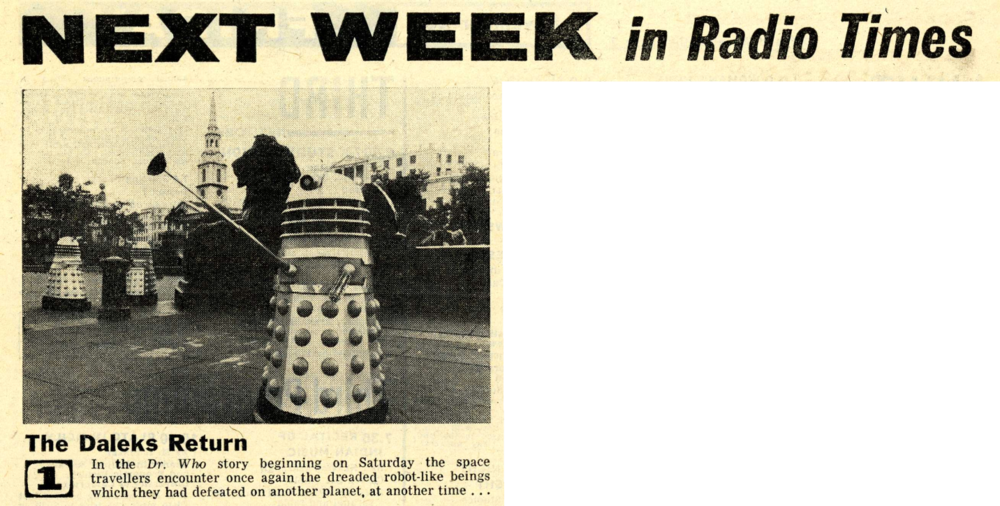 Radio Times. Preview of The Dalek Invasion of Earth, 14-20 November 1964