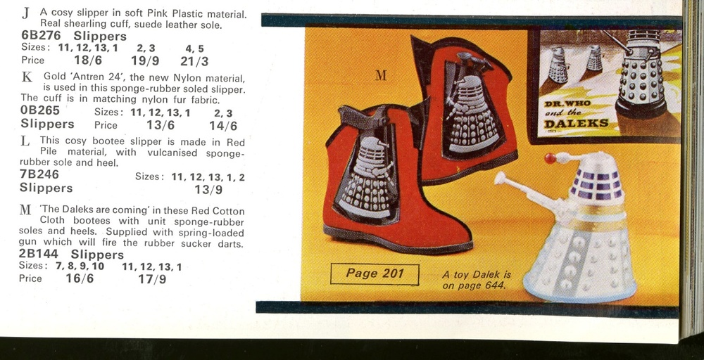 Detail of Dalek slippers from 1965 Grattans catalogue