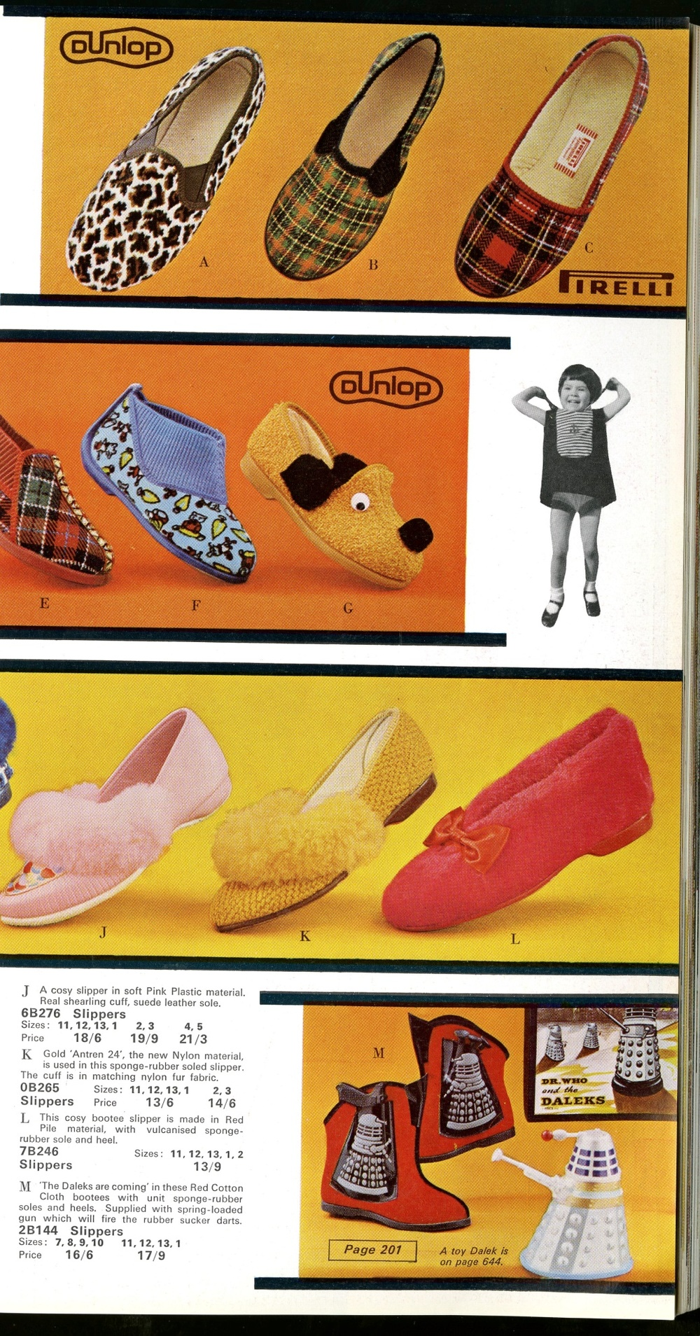 Ad. for second version of Furness Footwear Dalek slippers from 1965 Grattans catalogue (shown with original box and sucker gun).