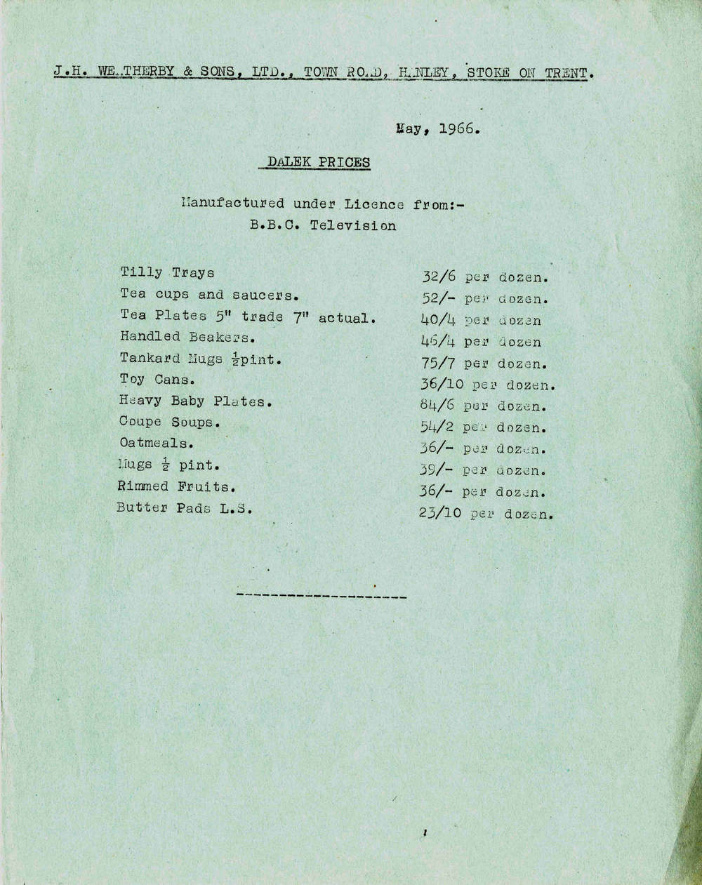 J H Weatherby and Sons Ltd., Dalek pottery trade price list