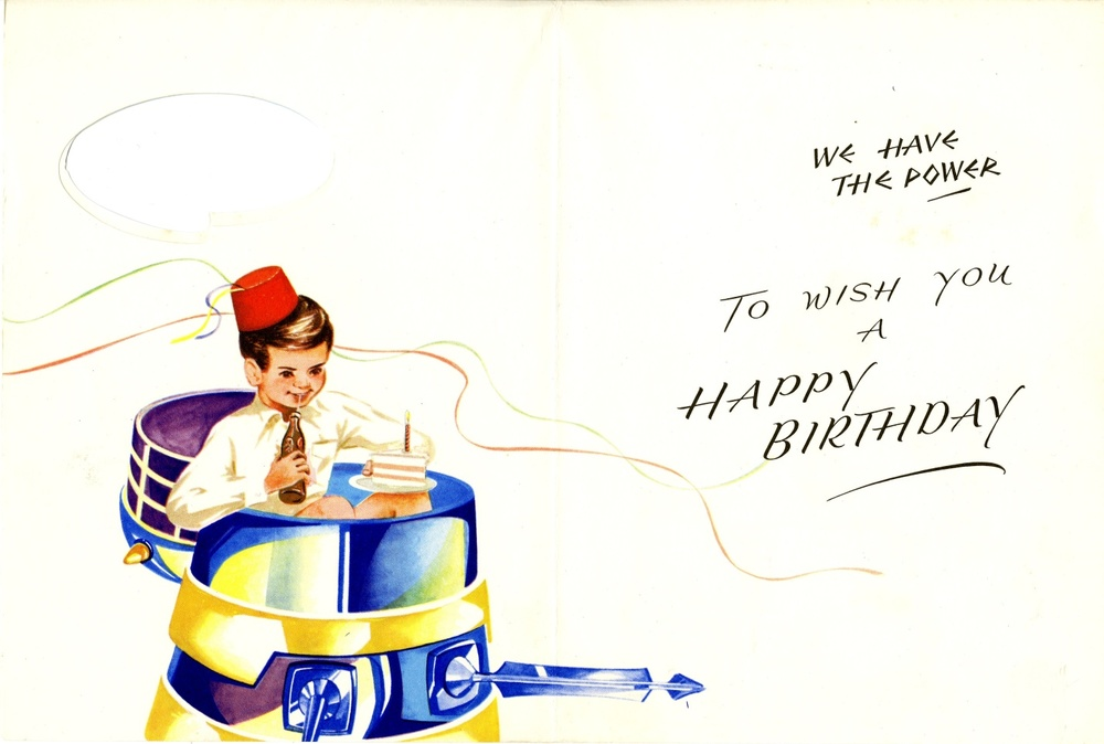 Newton Mills Ltd., Waldorf Division, Dalek birthday card interior