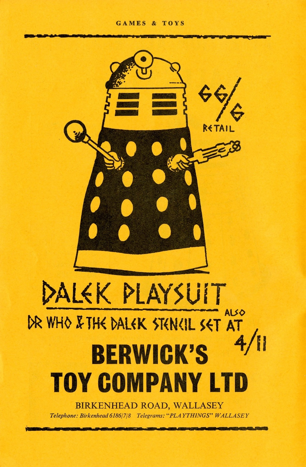 Ad. for Berwick's Toy Company Ltd., Dalek playsuit in the Supplement to Games and Toys, September 1965